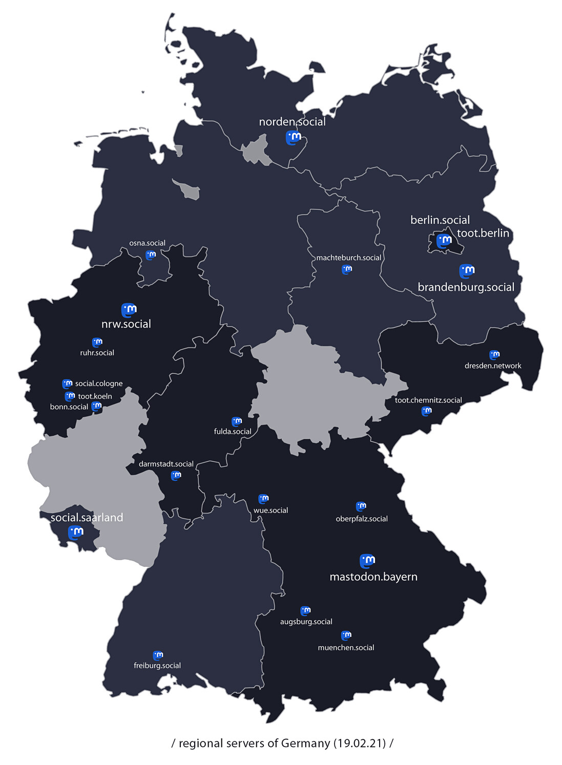 Map of Germany (by lands) with all current regional servers